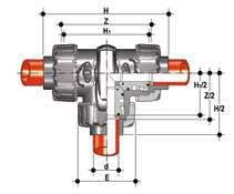 TKDIM, Guľový trojcestný ventil Dual Block®, typ T, ramená spájané polyfúzny zváraním